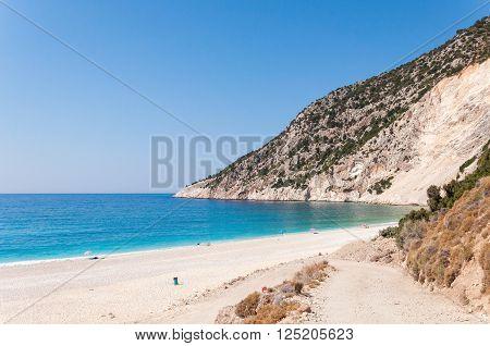 Beautiful Myrtos beach on Kefalonia Island Greece