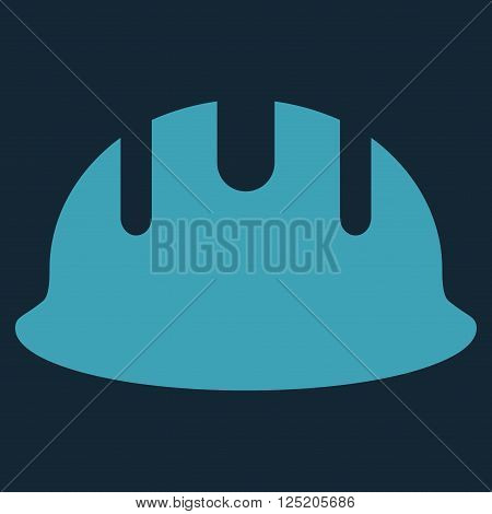 Builder Hardhat vector icon. Builder Hardhat icon symbol. Builder Hardhat icon image. Builder Hardhat icon picture. Builder Hardhat pictogram. Flat blue builder hardhat icon.