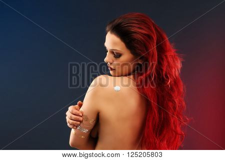 Portrait of beautiful mysterious oriental woman