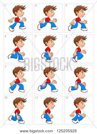 Animation of running boy, twelve frames. Vector cartoon isolated poses.