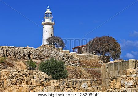 Lighthouse and the ruins of the ancient city of Paphos, Cyprus