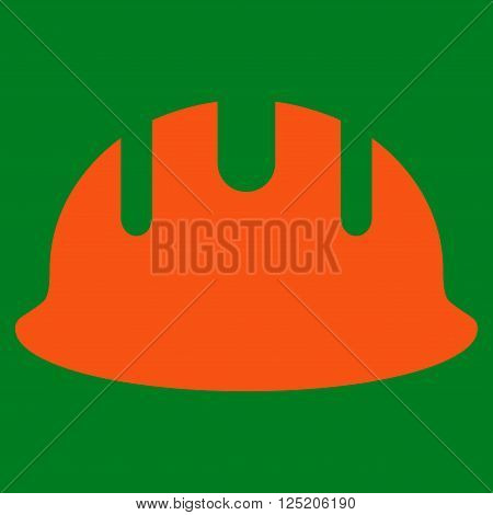 Builder Hardhat vector icon. Builder Hardhat icon symbol. Builder Hardhat icon image. Builder Hardhat icon picture. Builder Hardhat pictogram. Flat orange builder hardhat icon.
