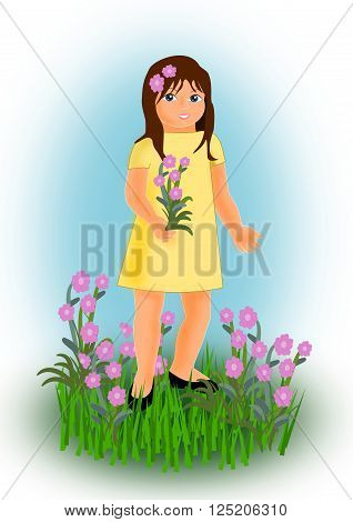 A girl in a yellow dress standing in a flower meadow.