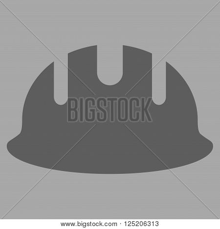 Builder Hardhat vector icon. Builder Hardhat icon symbol. Builder Hardhat icon image. Builder Hardhat icon picture. Builder Hardhat pictogram. Flat dark gray builder hardhat icon.