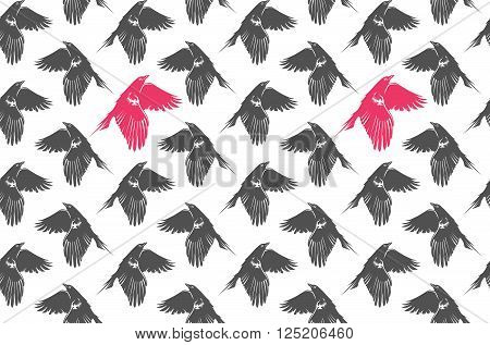 Grey and pink pattern with flying crows