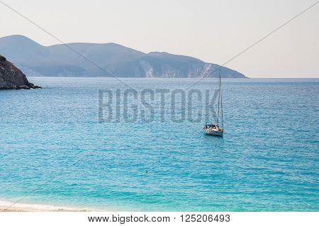 Yacht at the Myrtos beach on Kefalonia island Greece