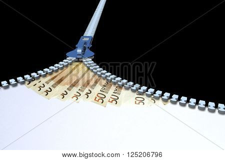 Concept or conceptual 3D metal zipper from to euro money banknotes or cash isolated on black banking background