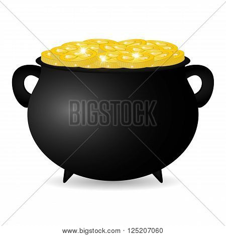 Coins with the symbol of St. Patrick's Day pot vector illustration
