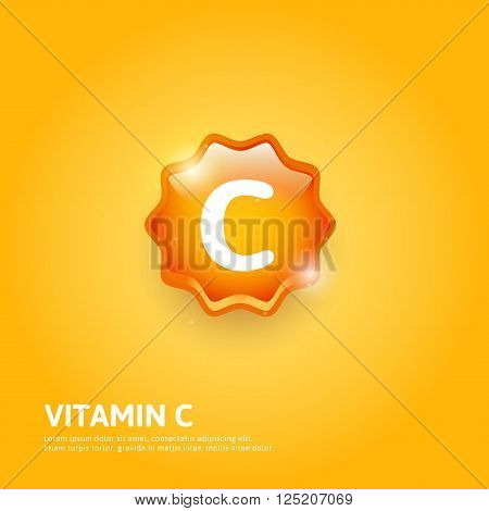 Vitamin C glossy label. Vector illustration. Vitamin icon