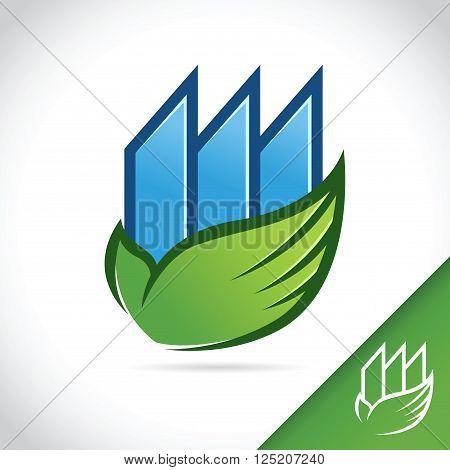 Logo template of a green ecology building vector stock