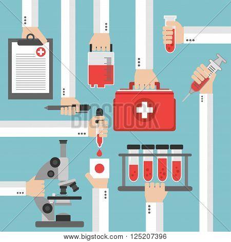Medical blood analysis flat design .Vector illustration