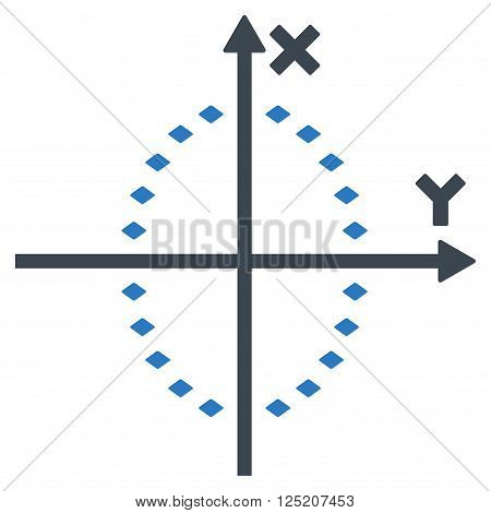 Dotted Ellipse Plot vector toolbar icon. Style is bicolor flat icon symbol, smooth blue colors, white background, rhombus dots.
