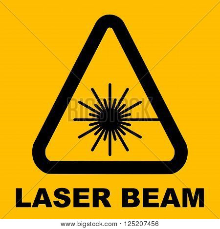 Warning icon of Laser light in yellow triangle. Vector illustration. Laser beam. Radiation.