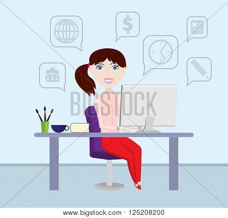 Girl freelancer working at the computer. Business woman. Copywriter. Infobusiness. Freelance infographic. Freelance designer. Freelance icon. Remote work.