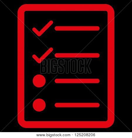 Checklist Page vector icon. Checklist Page icon symbol. Checklist Page icon image. Checklist Page icon picture. Checklist Page pictogram. Flat red checklist page icon.