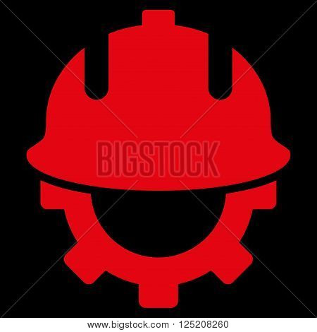 Development Helmet vector icon. Development Helmet icon symbol. Development Helmet icon image. Development Helmet icon picture. Development Helmet pictogram. Flat red development helmet icon.