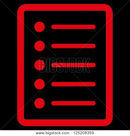 List Page vector icon. List Page icon symbol. List Page icon image. List Page icon picture. List Page pictogram. Flat red list page icon. Isolated list page icon graphic. List Page icon illustration.