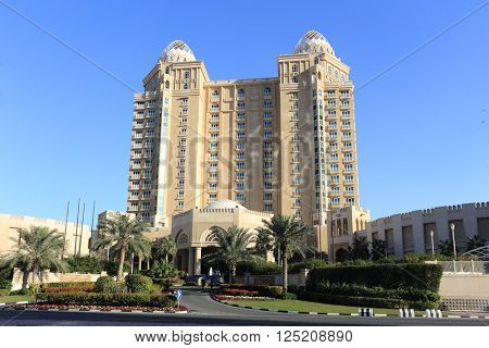 DOHA, QATAR - FEBRUARY 2, 2016: The Four Seasons Hotel in West Bay, Doha, a venue for various high-level meetings.