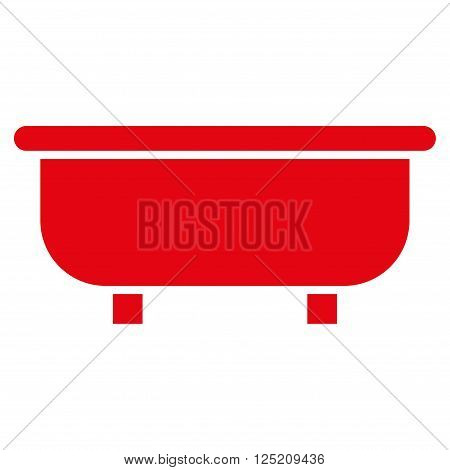 Bathtub vector icon. Bathtub icon symbol. Bathtub icon image. Bathtub icon picture. Bathtub pictogram. Flat red bathtub icon. Isolated bathtub icon graphic. Bathtub icon illustration.