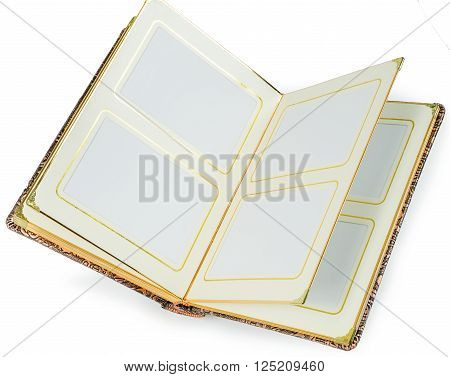 Opened book with blank pages and decorative gold  frame for text on a white background