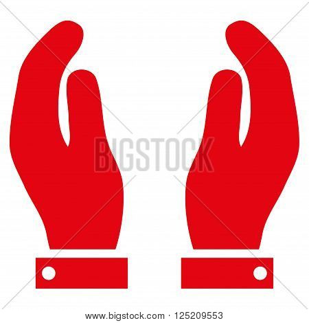 Care Hands vector icon. Care Hands icon symbol. Care Hands icon image. Care Hands icon picture. Care Hands pictogram. Flat red care hands icon. Isolated care hands icon graphic.