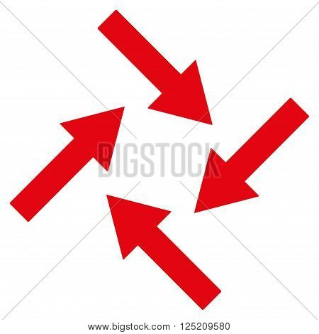 Centripetal Arrows vector icon. Centripetal Arrows icon symbol. Centripetal Arrows icon image. Centripetal Arrows icon picture. Centripetal Arrows pictogram. Flat red centripetal arrows icon.