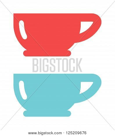Tea red and blue cup and empty red cup. Red single handle espresso cup breakfast food and ceramic red and blue flat cup. Red cup coffee tea or drink cafe morning beverage kitchen accessory flat vector.