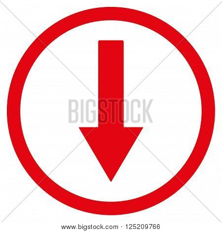 Down Rownded Arrow vector icon. Down Rownded Arrow icon symbol. Down Rownded Arrow icon image. Down Rownded Arrow icon picture. Down Rownded Arrow pictogram. Flat red down rownded arrow icon.