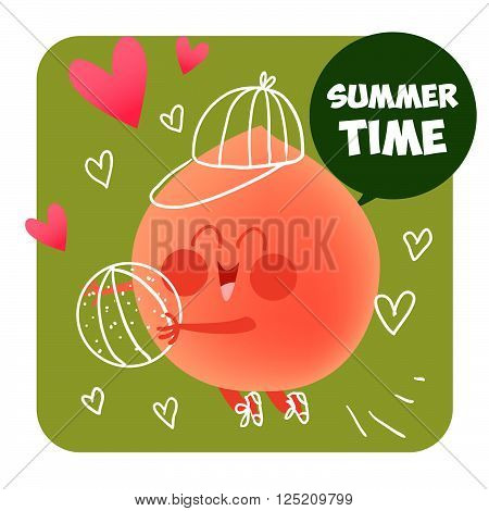 Summer time. Summer illustration. Healthy food. 100% natural. Summer fresh. Peach and ball. 100% Raw.
