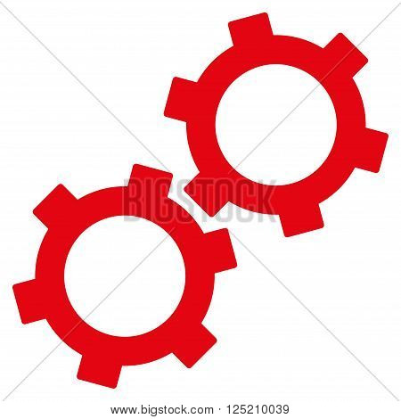 Gears vector icon. Gears icon symbol. Gears icon image. Gears icon picture. Gears pictogram. Flat red gears icon. Isolated gears icon graphic. Gears icon illustration.