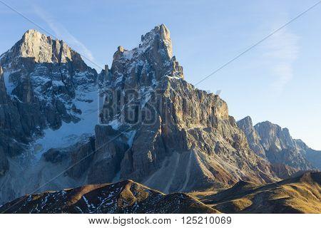 Italian dolomites peak. Mountain landscape from