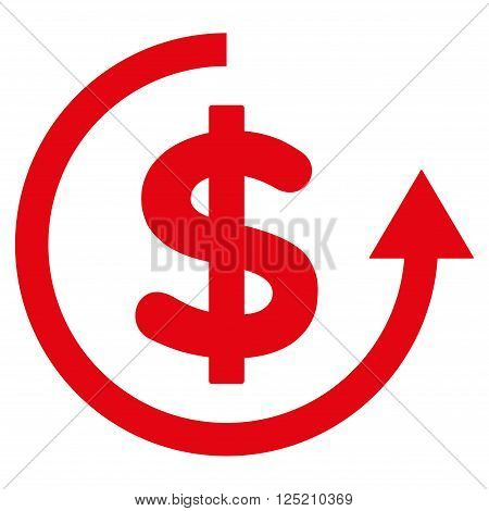 Refund vector icon. Refund icon symbol. Refund icon image. Refund icon picture. Refund pictogram. Flat red refund icon. Isolated refund icon graphic. Refund icon illustration.