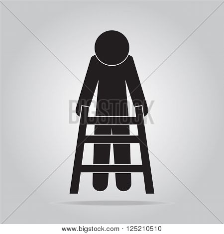 Elderly man and walker sign icon vector illustration