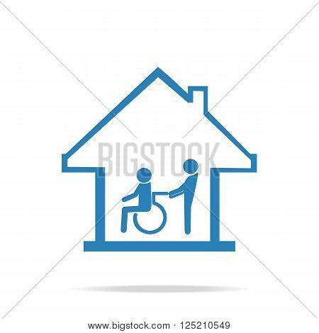 Disabled care Nursing home sign icon a man pushing wheelchair of man patient.
