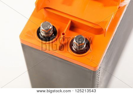 clamps of industrial lead acid battery, closeup view