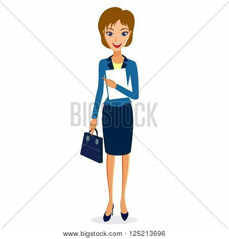 Business woman character vector. Cheerful smiling business woman character with papers and handbag. Woman business character isolated on white background