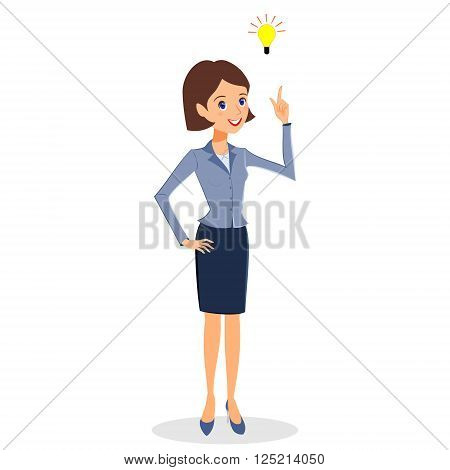 Business woman character vector. Cheerful smiling business woman character with light bulb. Problem solving idea and creativity concept. Woman business character isolated on white background