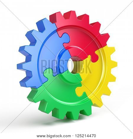 Gear puzzle - business teamwork and partnership concept. 3d rendering
