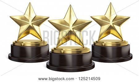 Three Gold stars trophy award isolated on white. 3d rendering