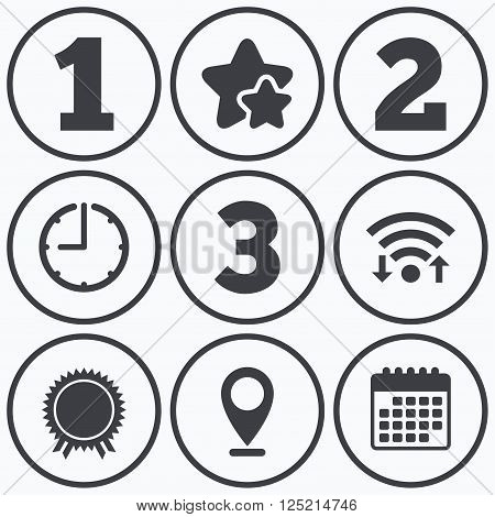 Clock, wifi and stars icons. First, second and third place icons. Award medal sign symbol. Calendar symbol.