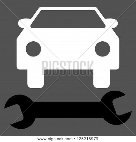 Car Repair vector icon. Car Repair icon symbol. Car Repair icon image. Car Repair icon picture. Car Repair pictogram. Flat black and white car repair icon. Isolated car repair icon graphic.