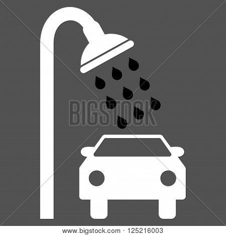 Car Shower vector icon. Car Shower icon symbol. Car Shower icon image. Car Shower icon picture. Car Shower pictogram. Flat black and white car shower icon. Isolated car shower icon graphic.