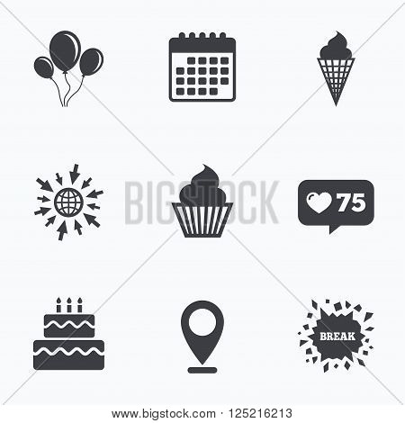 Calendar, like counter and go to web icons. Birthday party icons. Cake with ice cream signs. Air balloons with rope symbol. Location pointer.