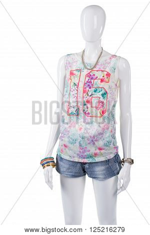Woman's floral pattern tank top. Mannequin in bright tank top. Trendy top with number print. Young girl's casual summer outfit.