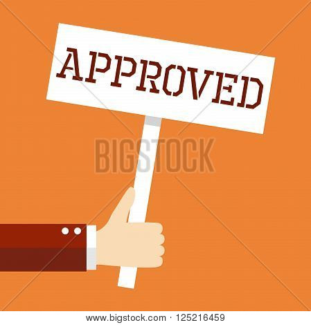Business concept, Welcome. Hand holding 'Approved' banner in retro style.