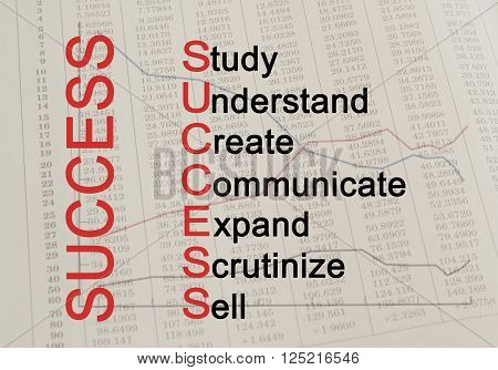 Acronym Success - Study Understand Create Communicate Expand Scrutinize Sell