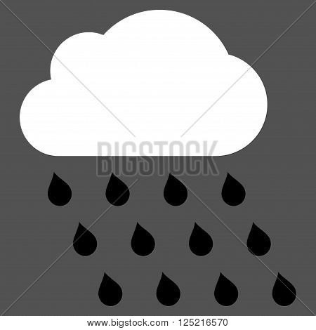 Rain Cloud vector icon. Rain Cloud icon symbol. Rain Cloud icon image. Rain Cloud icon picture. Rain Cloud pictogram. Flat black and white rain cloud icon. Isolated rain cloud icon graphic.
