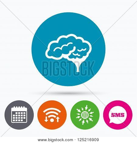 Wifi, Sms and calendar icons. Brain with cerebellum sign icon. Human intelligent smart mind. Go to web globe.
