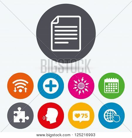 Wifi, like counter and calendar icons. Plus add circle and puzzle piece icons. Document file and globe with hand pointer sign symbols. Human talk, go to web.