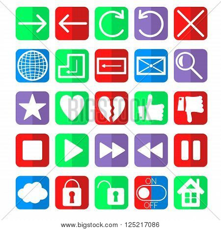 social network web navigation icons vector set